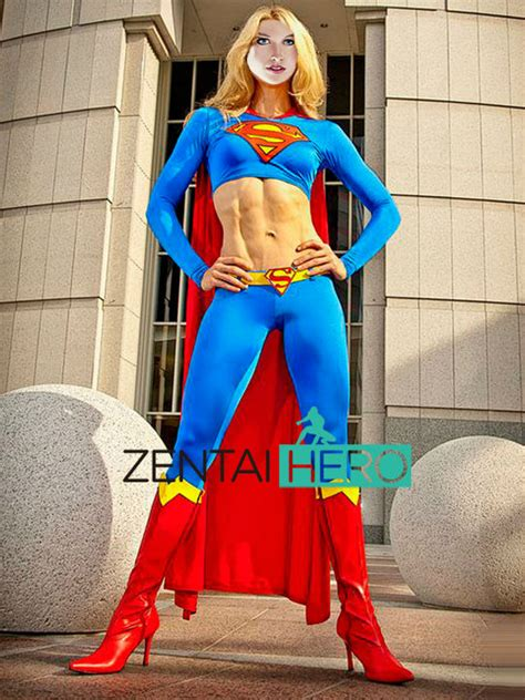 Free Shipping DHL Sexy Two Pieces Blue Supergirl Costume