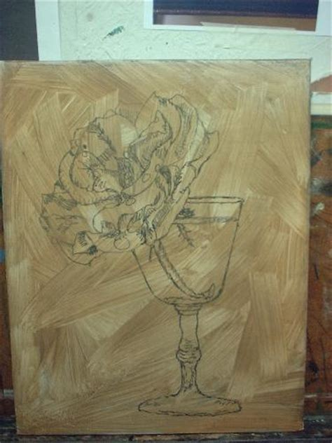 Rose Drawing turned to Grisaille painting layer demonstrated