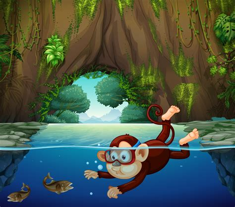 A monkey diving in the river - Download Free Vectors