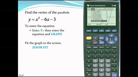 Ti-89 - Find the vertex of a parabola - YouTube