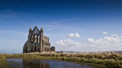 church, Whitby Abbey, England, River Wallpapers HD