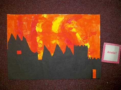 Hedgehogs : Great Fire of London silhouette paintings