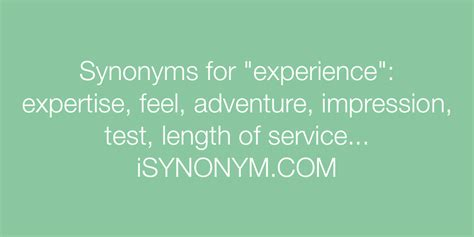 Synonyms for experience | experience synonyms - ISYNONYM
