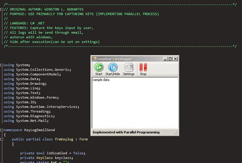 Keylogger in c# (parallel implementation) | Free source