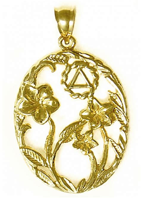 14k Gold AA Symbol in a Old Fashion Style Pendant with 3